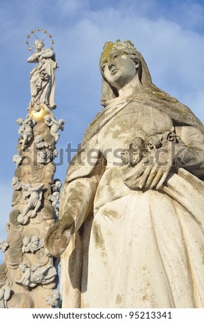 Immaculata - plague pillar (slovak: morovy stlp) and a religious statue in town square of Kosice, Slovakia.