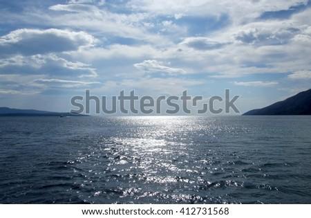 Immense blue, sea and sky - stock photo