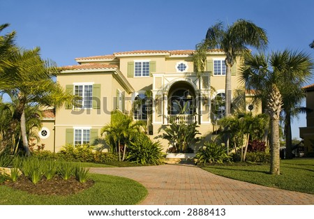 immense luxurious modern Mansion in central Florida - stock photo