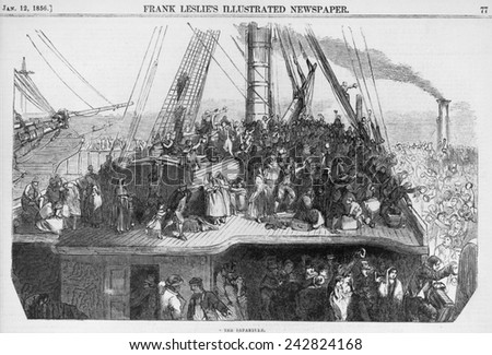 Immigrants waving farewell to crowd on dock, as their ship leaves a Western European port for North America. Wood engravings 1850-1860. - stock photo