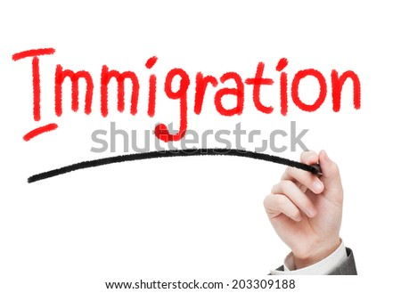 Immigration concept written on white. Social concept  - stock photo