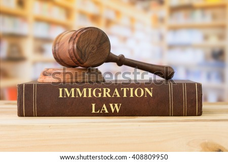Immigration Law books with a judges gavel on desk in the library. Law education ,law books concept.  - stock photo