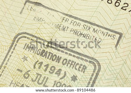 Immigration stamp for UK - stock photo