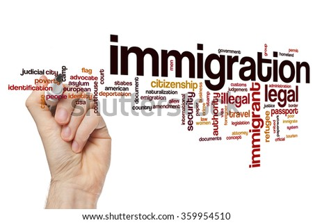 Immigration word cloud - stock photo
