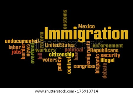 Immigration Word Cloud on Black Background - stock photo