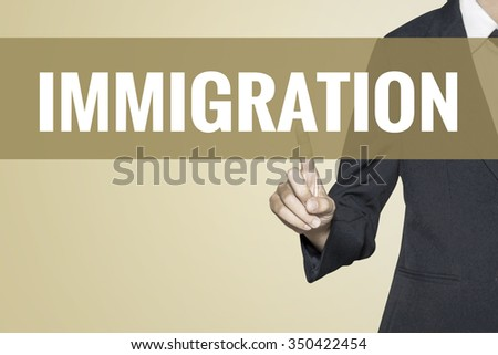 Immigration word on vintage background retro virtual screen touch by business woman on white background - stock photo