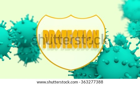 Immune protection system relative image. Abstract viruses attack on shied with protection text. Vaccination theme. Virus model flying in space. Pharmaceutical industry and medical equipment research - stock photo