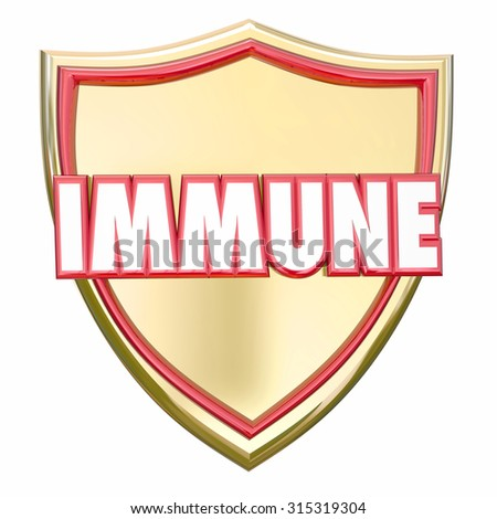 Immune word in red 3d letters on a gold shield to illustrate immunity and protection from risk of diseases, virus or other health threats - stock photo