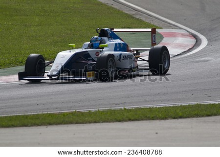 Imola, Italy - October 11, 2014: A Tatuus F.4 T014 Abarth of Smp Racing Euronova Racing team, driven By Matveev Ivan (Rus),  the Italian F4 Championship car racing on October 11, 2014 in Imola, Italy.