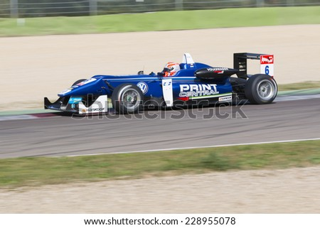 Imola, Italy - October 11, 2014: Dallara F312 - Volkswagen of Carlin Team, driven by Jones Edward (Are)  in action during the Fia Formula 3 European Championship - Race in Imola at Enzo & Dino Ferrari - stock photo