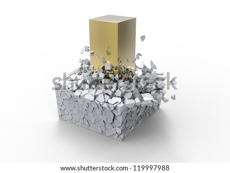 Impact concept showing a big golden rod crushing a fragile block - stock photo