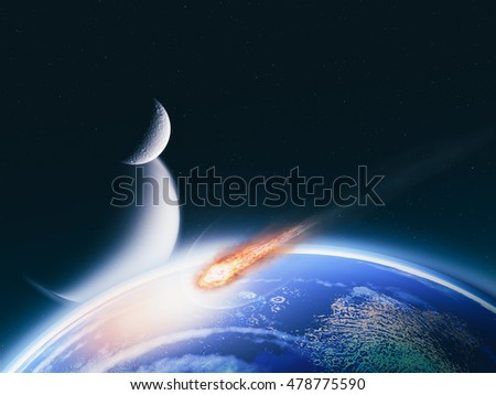 Impact from the deep, abstract science backgrounds. NASA imagery used