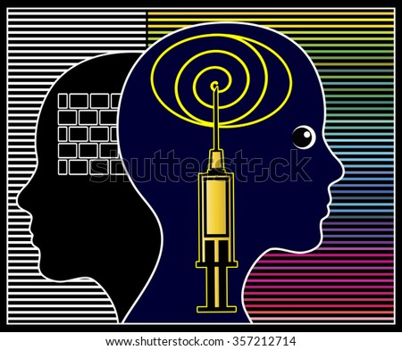 Impact of Psychotropic Drugs. Concept sign of psychiatric medication affecting mind, emotion and behavior - stock photo