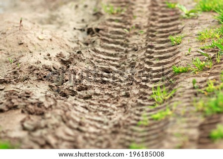 impassable forest road of mud and clay, offroad, selective focus  - stock photo