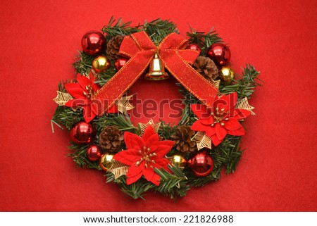 Impatient door decoration which celebrates Christmas /Christmas wreath - stock photo