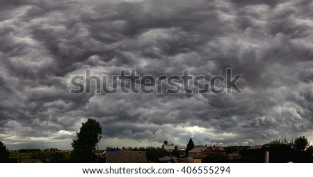 impending squall with rain, impending hurricane, impending rain, Prairie Storm, the storm is coming, approaching storm, thunderstorm, tornado, mesocyclone, climate natural disaster, tempest, - stock photo