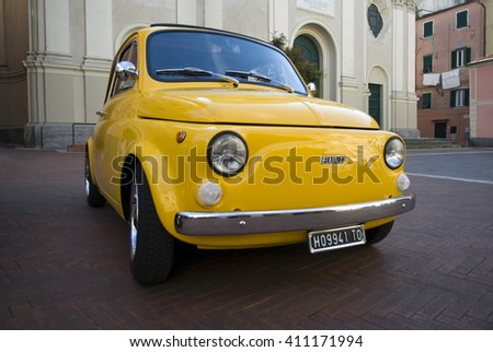 Imperia, Italy - April 24, 2016: Close up of a FIAT 500 parked in a street in Imperia during raid of vintage cars