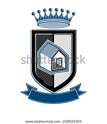 Imperial coat of arms, royal house conceptual symbol. Protection shield with 3d king crown. Majestic heraldic design element.  - stock photo