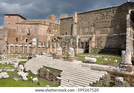 Imperial forum of Emperor Augustus. Rome, Italy - stock photo