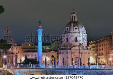 Imperial Forum Traian Column and Chiesa del Santissimo Nome di Maria, Rome, Italy  - stock photo