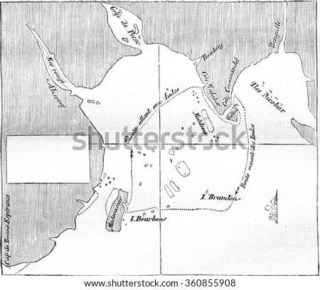 Imperial library, cards department, Map drawn by Bourdonnais in prison, on a handkerchief, with soot and coffee grounds, vintage engraved illustration. Magasin Pittoresque 1857. - stock photo
