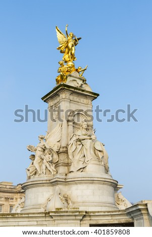 Imperial Memorial to Queen Victoria (1911, designed by Sir Aston Webb) in front of Buckingham Palace was built in honor of Queen Victoria, who reigned for almost 64 years. London, England, UK. - stock photo