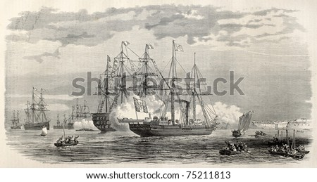Imperial yacht Reine Hortense anchorage in Brest, during  Prince Imperial Louis  Eugene Napoleon Bonaparte journey. Created by Blanchard, published on L'Illustration, Journal Universel, Paris, 1868 - stock photo