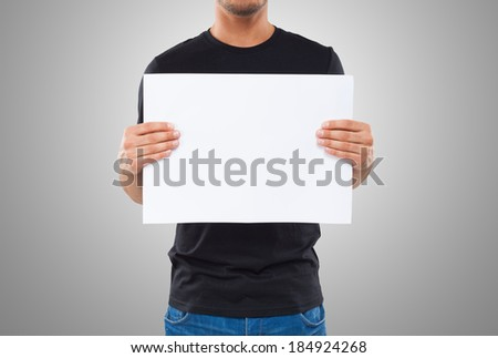 Impersonal image of a man showing a blank sign - stock photo