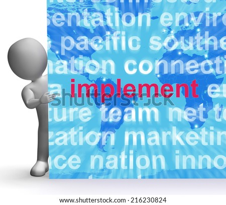 Implement Word Cloud Sign Showing Implementing Or Executing A Plan