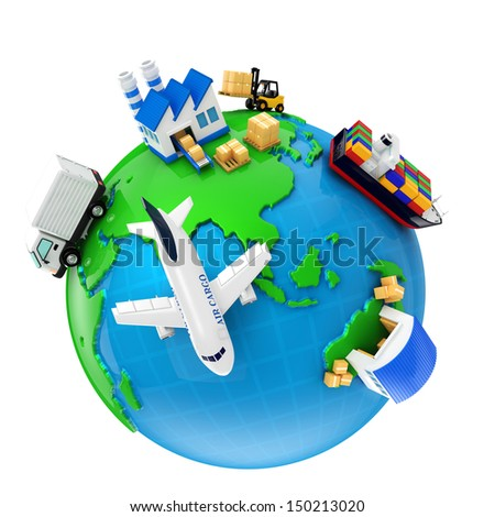 Import and export and manufacturing - stock photo