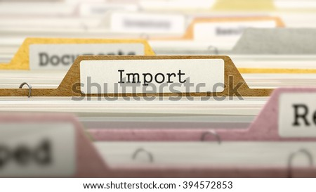 Import Concept on Folder Register in Multicolor Card Index. Closeup View. Selective Focus. 3D Render.