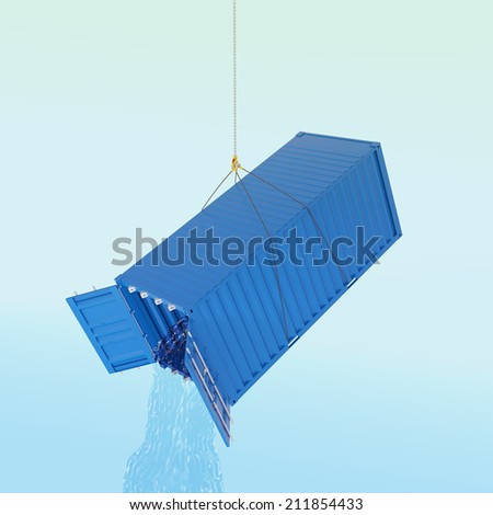 Import consumption problem concept - blue metal freight shipping container on the hook with water throw inside - photorealistic 3d perspective render