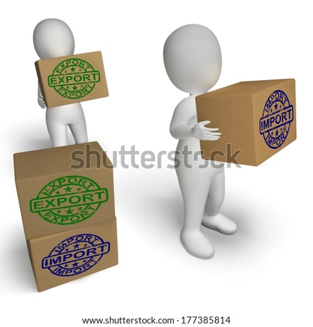 Import Export Boxes Showing International Trade Importing And Exporting - stock photo