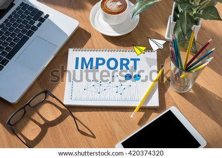 IMPORT open book on table and coffee Business - stock photo