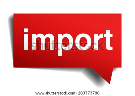 Import red 3d realistic paper speech bubble isolated on white - stock photo