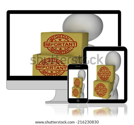 Important Boxes Displaying High Priority And Critical Delivery - stock photo