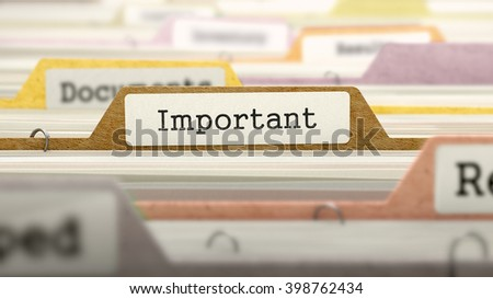 Important Concept. Colored Document Folders Sorted for Catalog. Closeup View. Selective Focus. 3D Render.