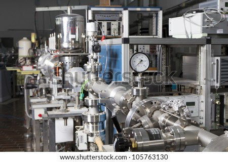 Important electronic and mechanical parts of ION Accelerator, CNC machined parts - stock photo