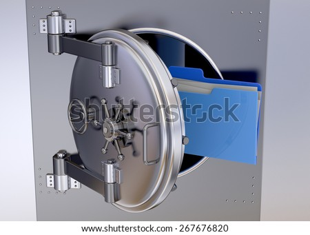 Important Folder in the Safe - stock photo