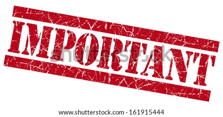 Important grunge red stamp - stock photo