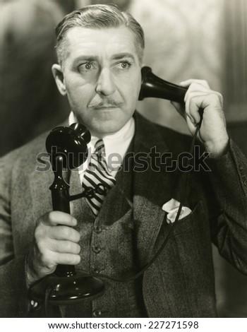 Important phone call - stock photo