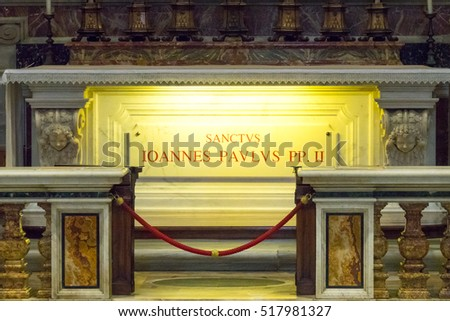 Important pilgrims destination - the tomb of Pope John Paul II in St Peters Basilica in Rome - ROME / ITALY, NOVEMBER 6, 2016