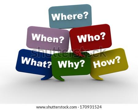 Important questions written on speech bubbles - stock photo