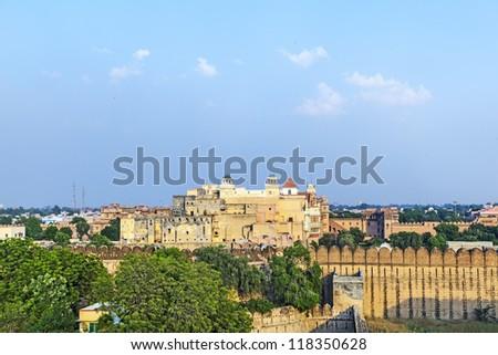 Imposing palace of the Maharajah of Bikaner inside Junagarh Fort, Bikaner, Rajasthan, India - stock photo