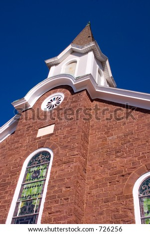 Imposing view of a church steeple