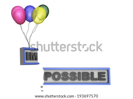 Impossible becomes possible with the help from some balloons - stock photo