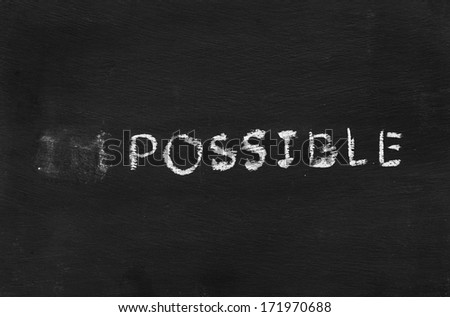 Impossible hand writing sign on blackboard - stock photo