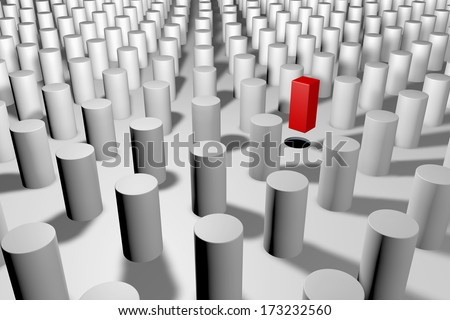 impossible metaphor for standing out in the crowd - stock photo