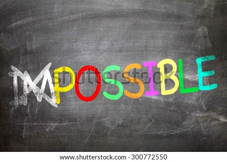 Impossible/Possible written on a chalkboard - stock photo