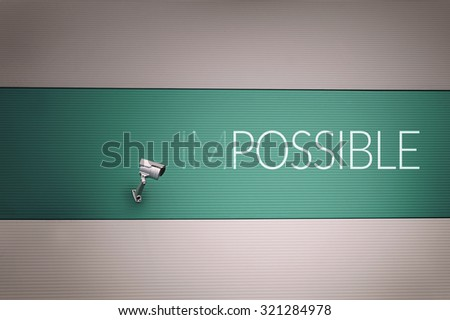 Impossible text on wall - stock photo